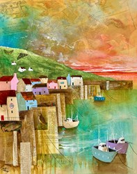 Quiet Harbour by Keith Athay - Varnished Original Painting on Box Canvas sized 16x20 inches. Available from Whitewall Galleries